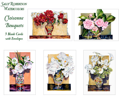 Cloisonne watercolor note cards