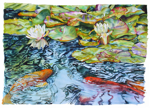Watercolor of koi fish and water lilies