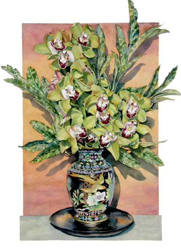 Sally Robertson watercolor of Cymbidium Orchids with Variegated Laurel