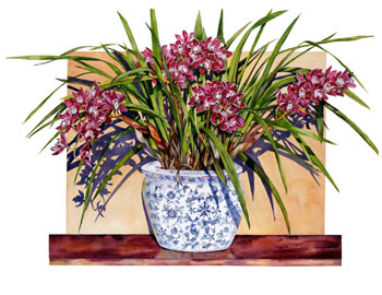 Cymbidium in Blue and White Pot
