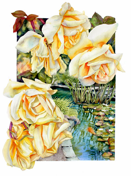 Sally Robertson watercolor of Lady Hillingdon Rose