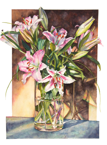 Lilieds in Glass vase watercolor