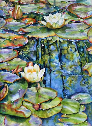 Watercolor water lilies and reflections