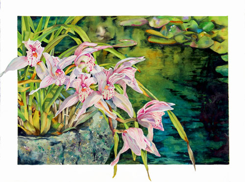 Orchids by the Pond, cymbidium orchids and water garden watercolor by Sally Robertson