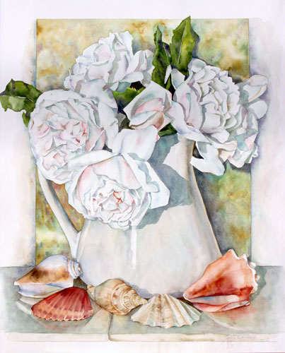 Sally Robertson watercolor of White Roses & Sea Shells