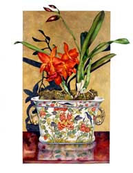 Red Orchids in Chinese Pot